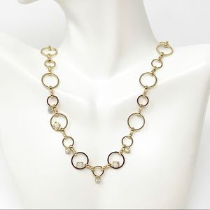 Free People Gold Tone Crystal Chain Link Necklace
